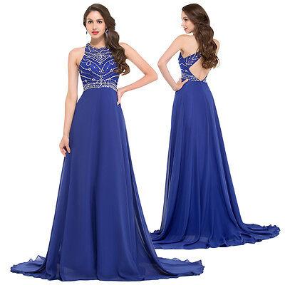 Beading Women MASQUERADE Royal Blue Evening Bridesmaid Ball Gown ...