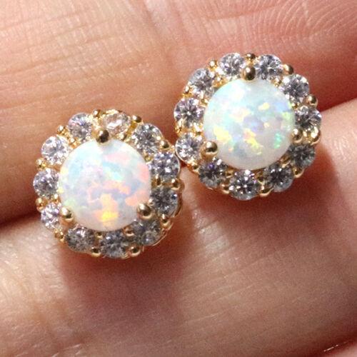 1 Ct Round Cut Opale Blanc Halo Clous D/'Oreilles