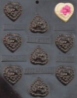 Bear On Pillow Heart Bites Chocolate Candy Mold Baby Shower Favor Cupcake Topper