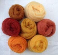 "7 colors Forever Amber  Wool roving 1oz ea 2 ~50"" corriedale felt wet soap honey"