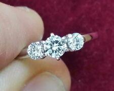 0.50 TCW 3 Stone Diamond Band Ring, 14K White Gold, Size 4.75