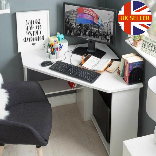 Corner Computer Desk White Wooden Small Table Study Workstation Laptop Desktop