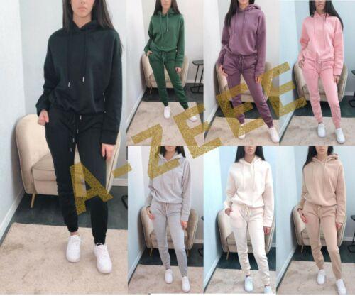 New Ladies Tracksuit Hooded Loungewear Women/'s Sweatshirt Joggers Sportswear