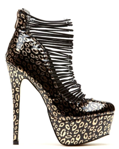 Cape Robbin Checker Gold Leopard Red Round toe Platform Heels Womens shoes Debby