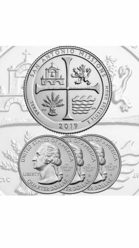 NATIONAL PARK THREE UNCIRCULATED QUARTERS 2019 PDS SAN ANTONIO MISSIONS TX
