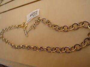$1850 David Yurman 18k, Ss Mini Lien Ovale Collier-afficher Le Titre D'origine