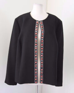 Tahari ASL Levine Black Coral Chain Beaded Blazer Jacket Size 20W Collarless