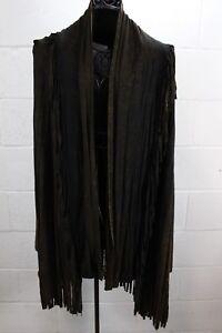 FANTAZIA-Boho-Art-Brown-Black-Hand-Dyed-Fringe-Cardigan-Duster-Light-Sweater-XL