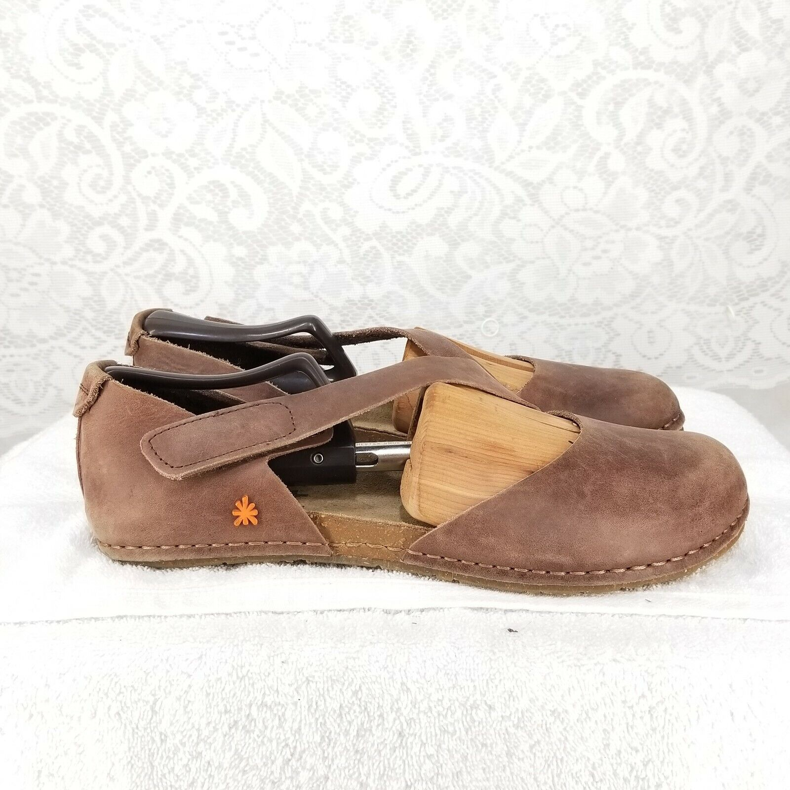 The Art Company Womens Brown Leather D'orsay Cork Flats Size 42
