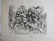 DIETMAR LEMCKE - Römischer Garten. Handsignierte Lithografie, Griffelkunst.