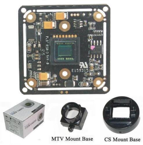 """Sunvision 650TVL 1//3/"""" Sony CCTV Board Camera BS-65A3 CS /& M12 Base Mounts"""