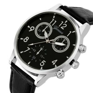 MIGEER-Watch-Business-Style-Men-039-s-Quartz-Analog-Wrist-Watches-Black-Leather-Band