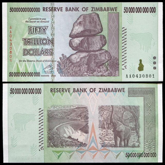 2008 50 Trillion Dollars Zimbabwe Banknote Aa P 90 Gem Unc 100 Series