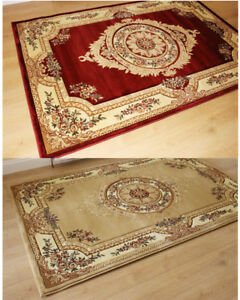 ELEGANT-TRADITIONAL-CLASSIC-RED-AND-BEIGE-THICK-HAND-CARVED-RUG-SMALL-TO-XLARGE