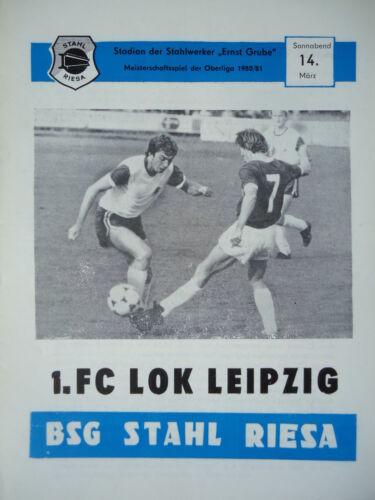 Programm 1980//81 BSG Stahl Riesa Lok Leipzig