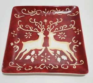 Susan-Winget-Certified-International-Square-Plate-Christmas-Raindeer