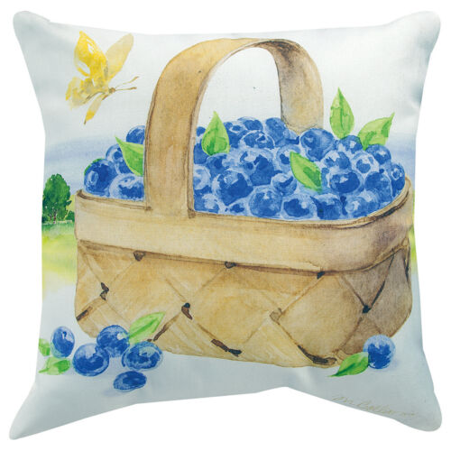 """18/"""" SQUARE BLUEBERRIES PILLOWS /""""FARM FRESH FRUIT/"""" INDOOR OUTDOOR PILLOW"""