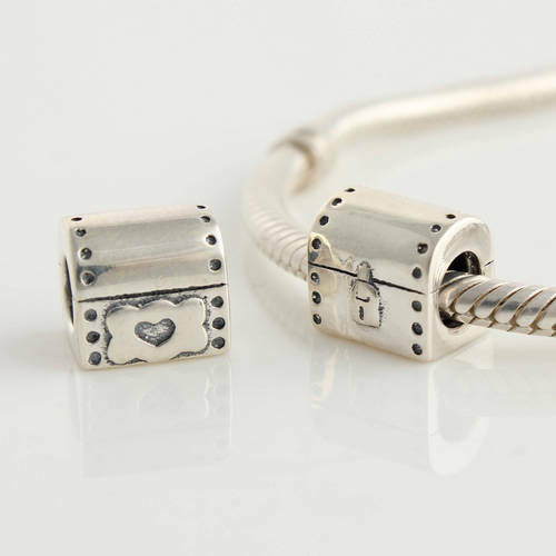 """New Auth 925 Sterling Silver Charm Bead fits Fashion Bracelets /""""Old Chest/"""""""
