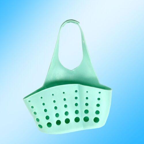 Kitchen Adjustable Button Hanging Basket Storage Pocket Sink Sponge Shelf