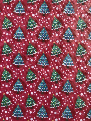 A4 Red Christmas Tree Winter Snow Theme Fabric Sheet For Hair Bows Crafts
