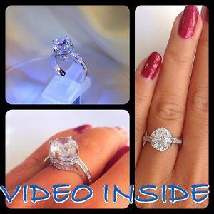 GlamRoyal Crown 4.+CT Wedding Engagement Diamond Ring Platinum 22KT.Fine Silver