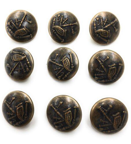 9 Antique Brass Buttons  Irish Bag Pipe Design