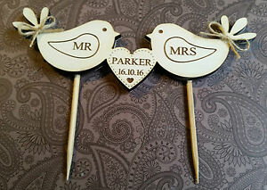 HAND-MADE-PERSONALISED-MR-AND-MRS-BIRD-CAKE-TOPPER-ENGRAVED