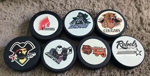 WHL-Hockey-Puck-Lot-7-Inglasco-Canada-Cougars-Tigers-Rebels-Hitmen-Raiders