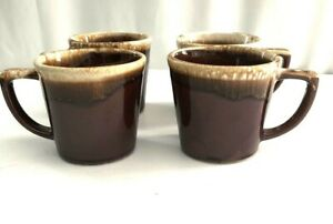Lot of 4 Vintage McCoy Brown Pottery L USA Coffee Cup Mugs