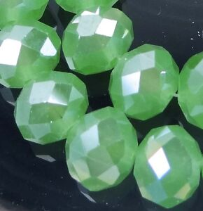 4x2mm Green Chalcedony Glass Quartz Faceted Rondelle Beads 50