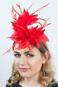 Ladies Red Fascinator Headpieces Hat Race Day Wedding Guest Fascinators RRP £35