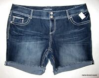 Maurices Denim Cuffed Jean Shorts Womens Plus 24 3x Dark Wash Frayed Hem