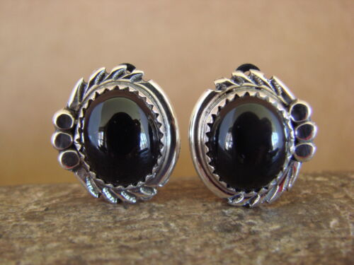 Native American Sterling Silver Black Onyx Clip On Earrings by Delores Cadman