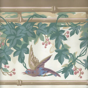 Image Is Loading Ivy Leaves With Birds And Erflies Bamboo Edge