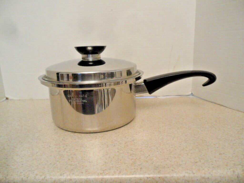 ✅ Cook-O-Matic 2 Quart QT Pan 18-8 Stainless Tri-Ply W  Lid & Double Boiler USA