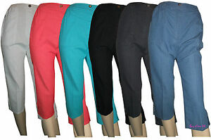 Ladies-Womens-Casual-Capri-Crop-Trousers-Elasticated-Zip-Pockets-Summer-Shorts