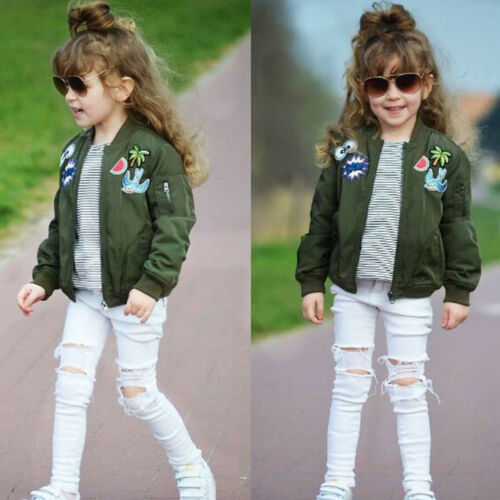 Toddler Girls Kids Baby Cartoon Embroidery Jacket Fall Winter Coat Zip Outerwear