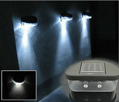 New Security,Wireless Solar Powered 2 LED Outdoor Lights Fence Wall Garden