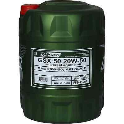 20 Liter Orignal Fanfaro Gsx 50 20w-50 Api Sl/cf Motoröl Engine Oil Öl
