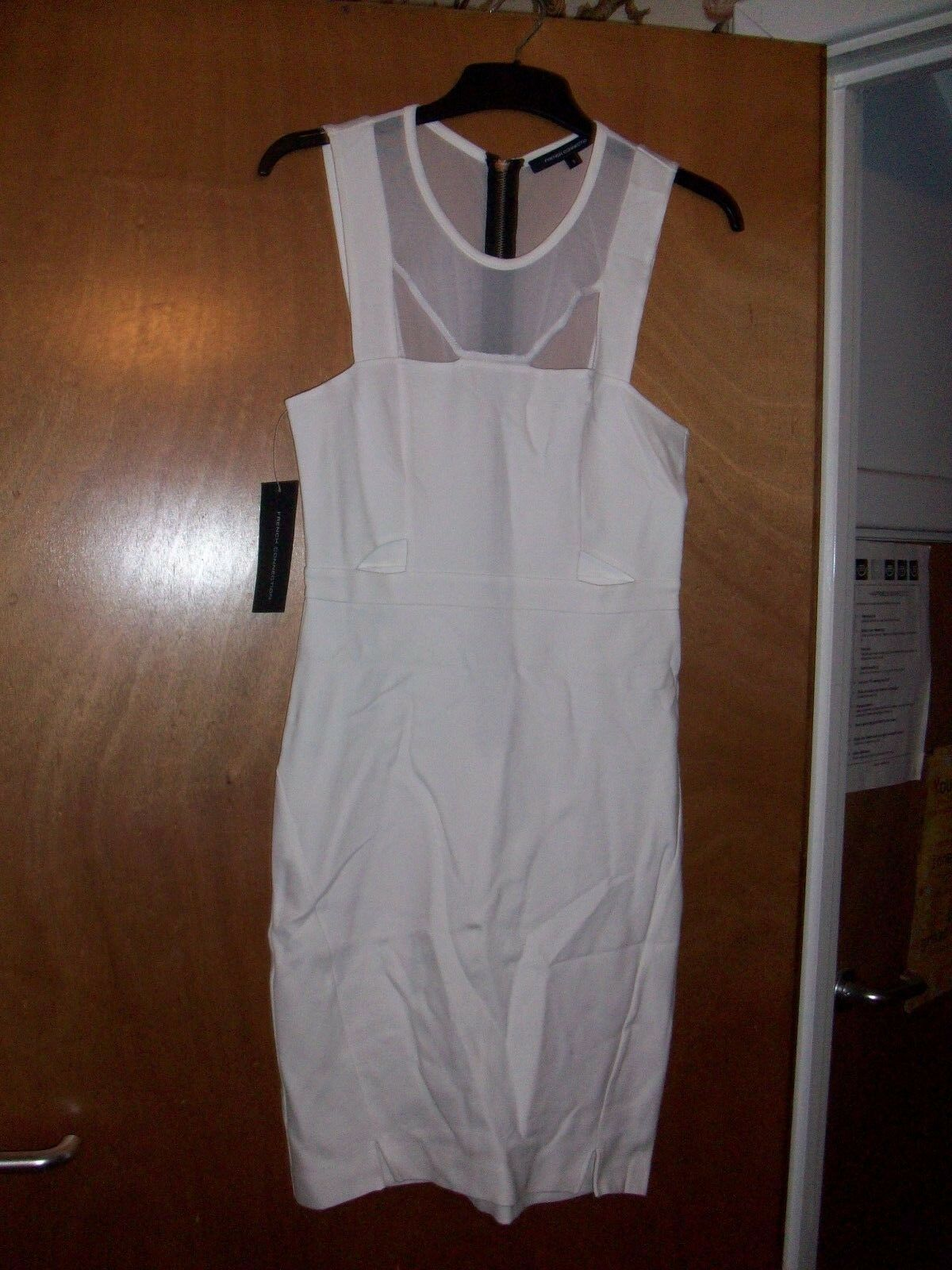 New FCUK French Connection @ ASOS White Lula Cut Out Fitted Dress Size Small