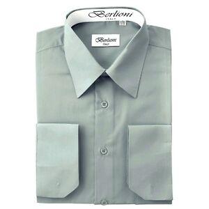 Berlioni Italy Solid Mens Dress Shirt Italian French Convertible Cuff Black