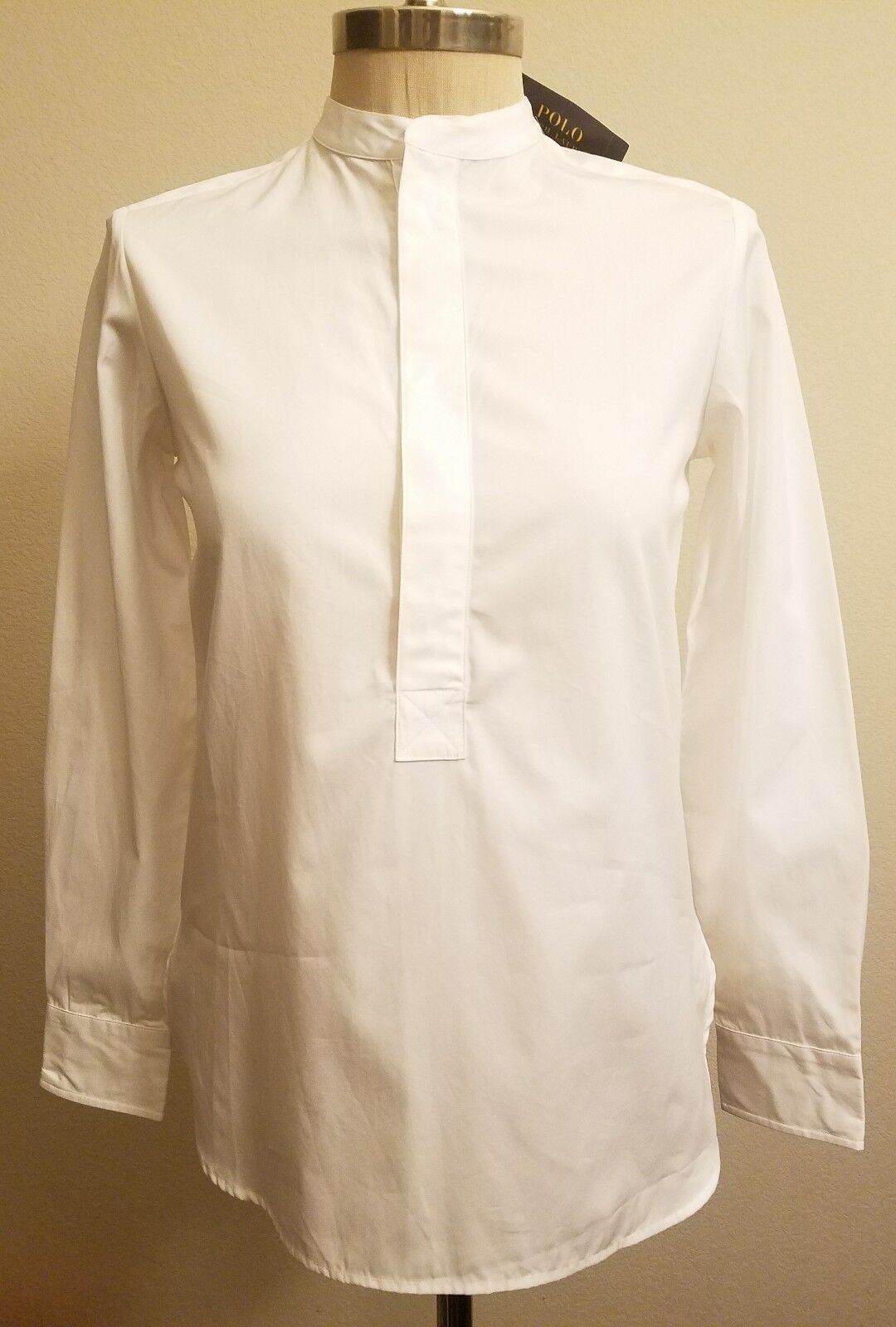 Polo Ralph Lauren damen Mandarin Collar Tunic Long Sleeve ShirtSz XS THESPOT917