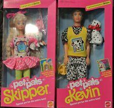 Vintage 1991 Pet Pals Skipper & KEVIN Mattel Barbie Doll with pets-NIB- lot of 2