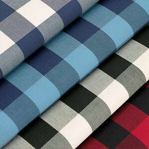 100-Woven-Cotton-Fabric-FQ-Classic-Time-London-Scottish-Gingham-Plaid-Check-VP5