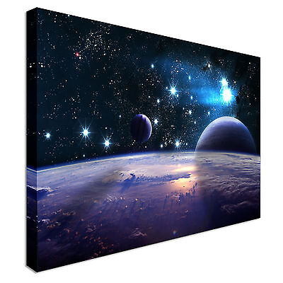 Abstract Space Scene Planets Purple Canvas Art Cheap Wall Print Home Interior