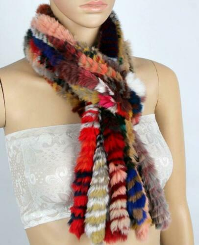 Women/'s Winter Real Rex Rabbit Fur Knitted Scarf Scarves Wraps Girls Warm