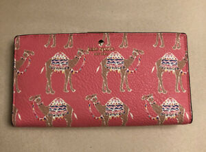 KATE-SPADE-NEW-YORK-CAMEL-MARCH-STACY-LEATHER-WALLET-PINK-WITH-BEIGE-INTERIOR