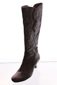 Stiefel-braun-Leder-Variobuendchen-Applikation-Gr-40-UK-6-5