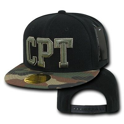 Black & Camo Compton CPT Embroidered Hip Hop Flat Bill Snapback Baseball Cap Hat