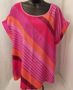 0627de91cbd54 Faded Glory Womens Plus Purple Orange Pink Striped Shirt Top Size 2X ...